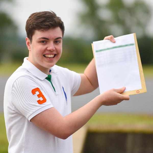 Daniel Buckley with his GCSE results at SET Ixworth