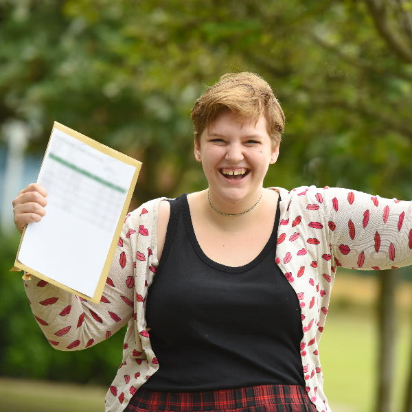 Holly Bamber at SET Ixworth with her GCSE results